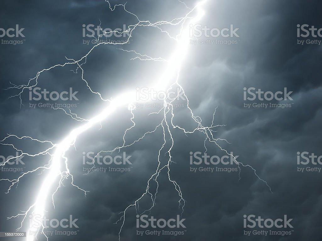 real lightning on stormy sky royalty-free stock photo