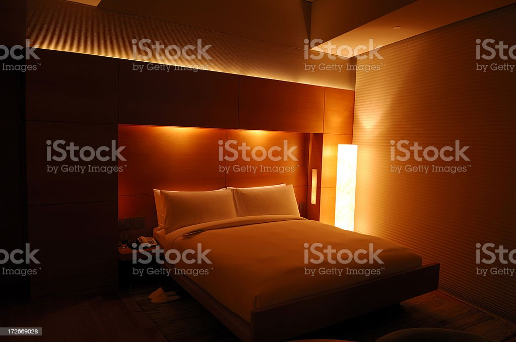 Real luxury hotel room - at night royalty-free stock photo