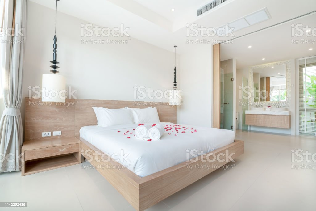 Real Luxury Interior Design In Bedroom With Light And Bright Space In The House Or Home Stock Photo Download Image Now Istock
