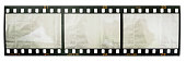 35mm film strip isolated on white with empty film cells or frames