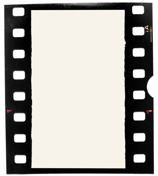 real macro photo of grungy looking 35mm filmstrip or film frame on white background real 35mm filmstrip or film frame photographic slide stock pictures, royalty-free photos & images