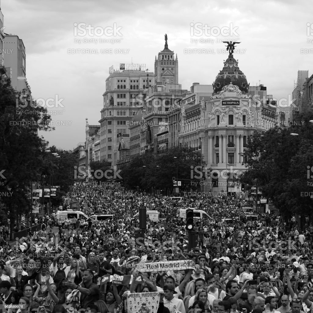 Real Madrid fans in Alcala street view - Royalty-free Fan - Enthusiast Stock Photo