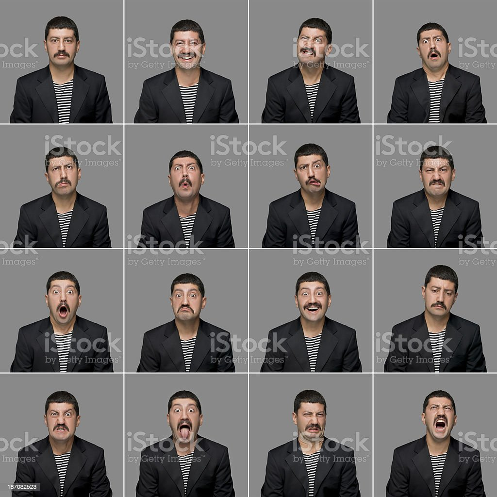 Real man making facial expressions royalty-free stock photo