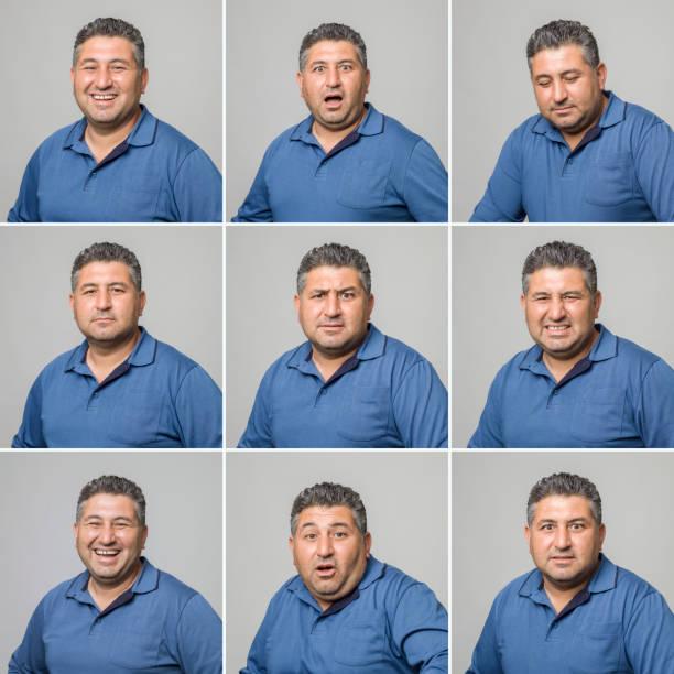 진짜 남자 다양 한 얼굴 표정 만들기 - 시리즈 일부 뉴스 사진 이미지