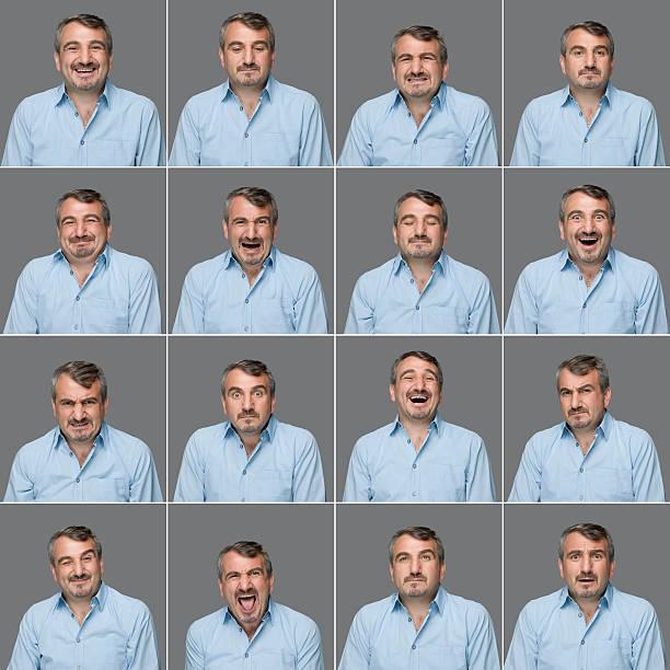 véritable homme différentes expressions - image multiple photos et images de collection