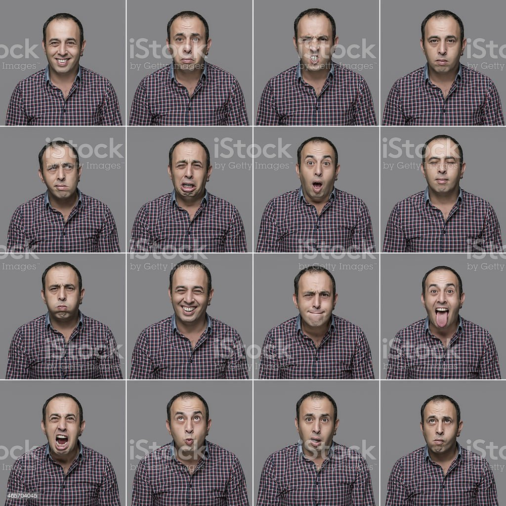 Real man multiple expressions royalty-free stock photo