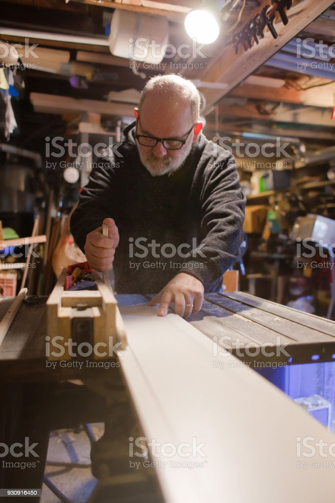 Real Man Woodworking stock photo