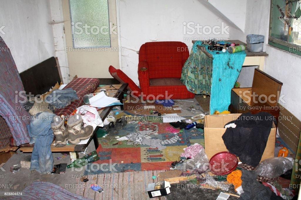 Ceske Budejovice, Czech republic - August 3, 2015: Real mess in...