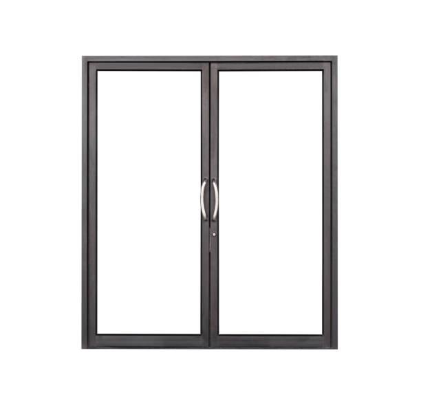 Echte moderne schwarze Geschäft front Doppelglas TürfensterRahmen isoliert auf weißem Hintergrund – Foto