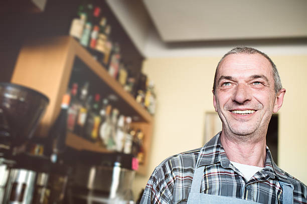 Real owner of coffee shop, Italy stock photo