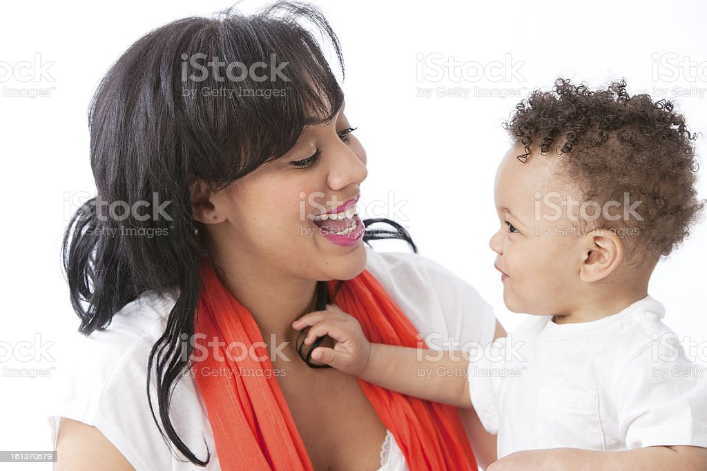 Real People: Black African American Mother Talking with Toddler stock photo