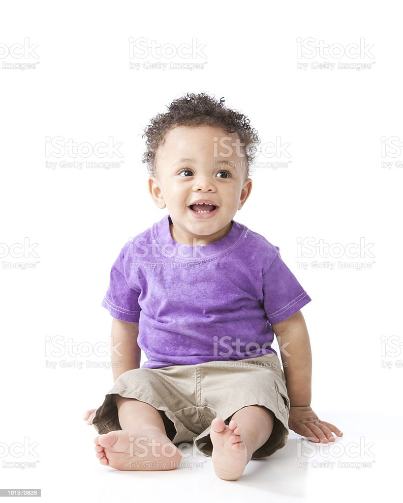 Real People: Black African American Smiling Toddler Boy Purple Shirt stock photo