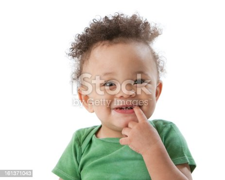 A head and shoulders image of a laughing Black or African American toddler boy in a green shirt. He has his finger in his mouth.
