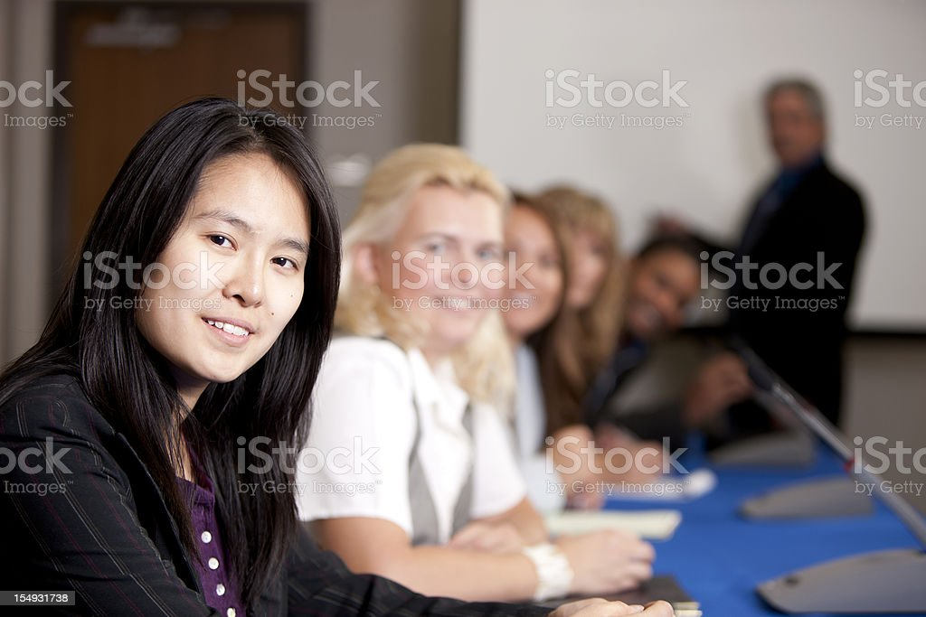 Real People: Business Meeting Presentation with Businessmen and Businesswomen royalty-free stock photo