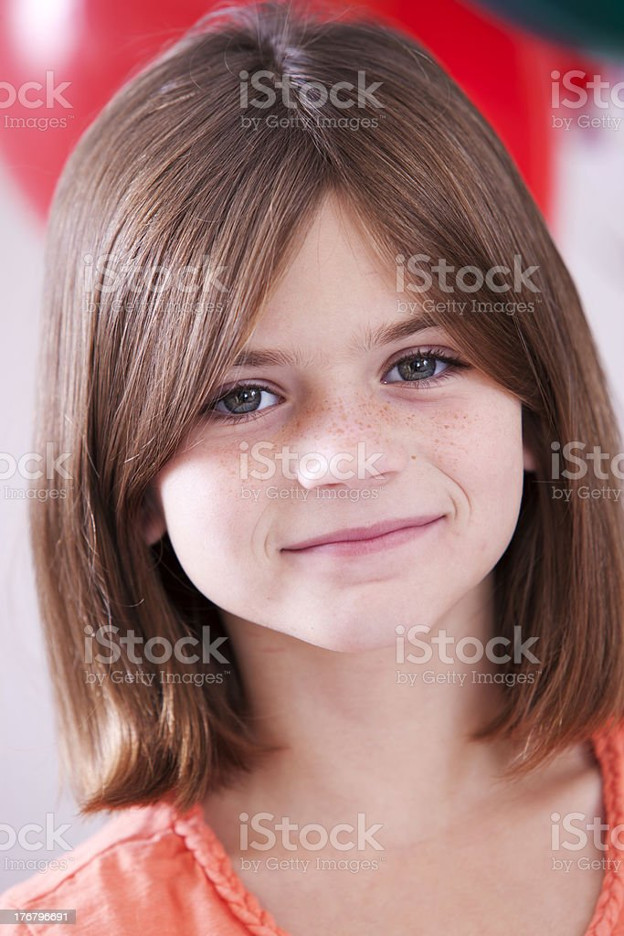 Real People: Caucasian Little Girl Celebrating Birthday Party royalty-free stock photo