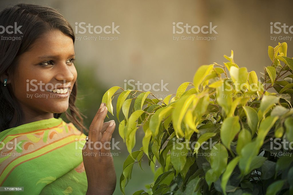 Close-up of girl with nature