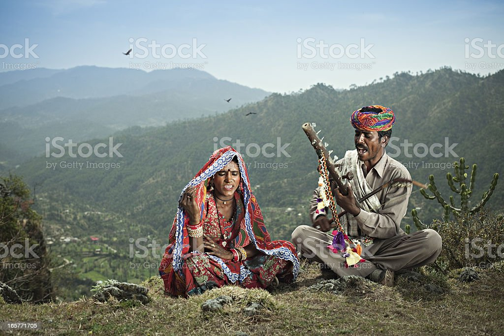 Real people from rural India: Folk singers of Rajasthan stock photo