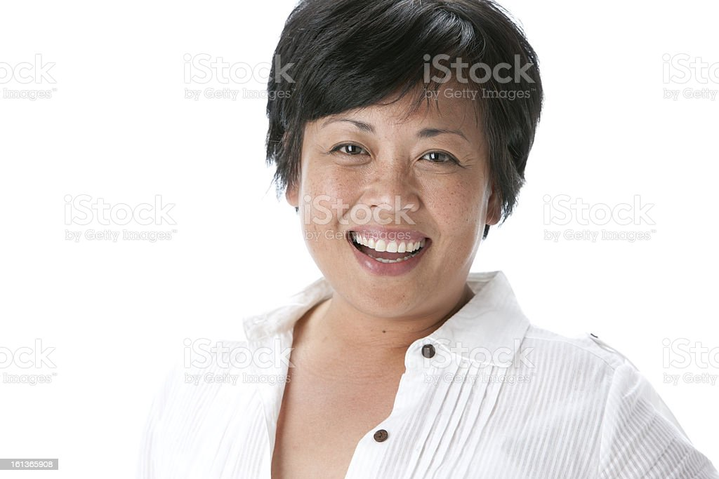 Real People: Head Shoulders Laughing Asian Adult Woman royalty-free stock photo
