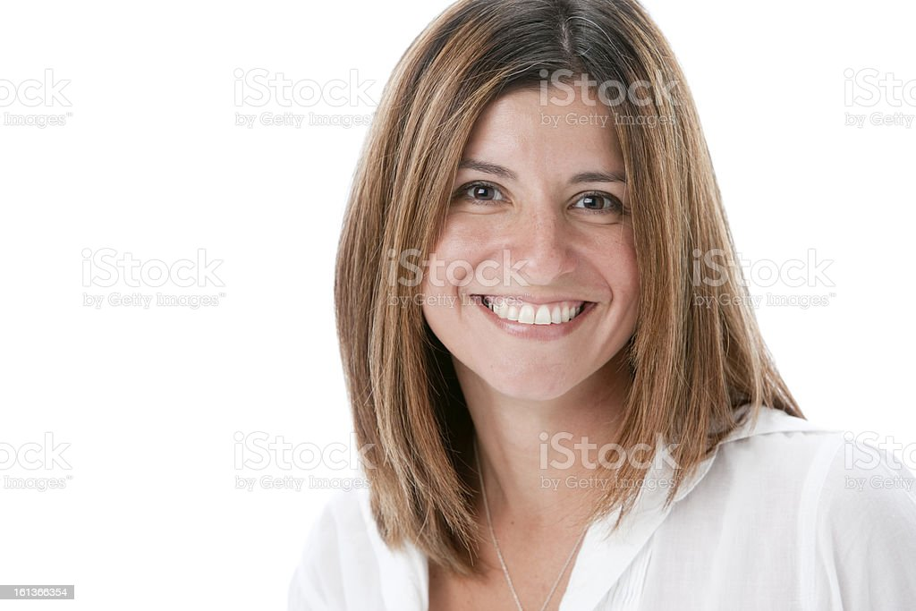 Real People: Head Shoulders Smiling Hispanic Adult Woman stock photo