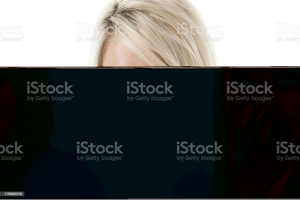 Real People: Headshot Caucasian Young Adult Woman Holding Nose stock photo