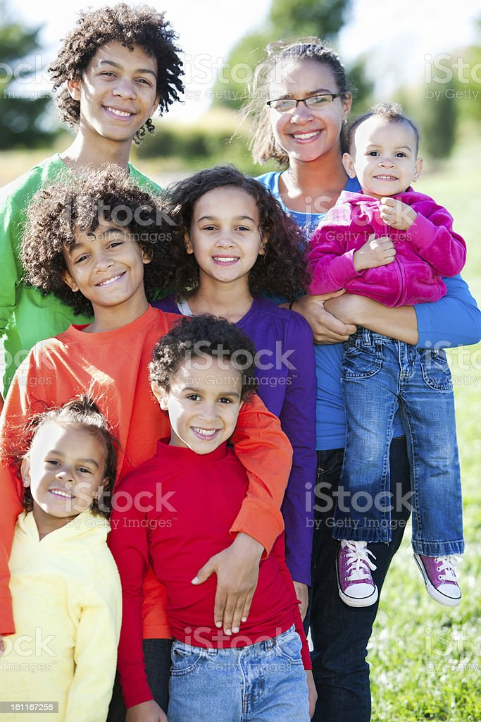 Real People: Mixed Race Large Family Group Children royalty-free stock photo