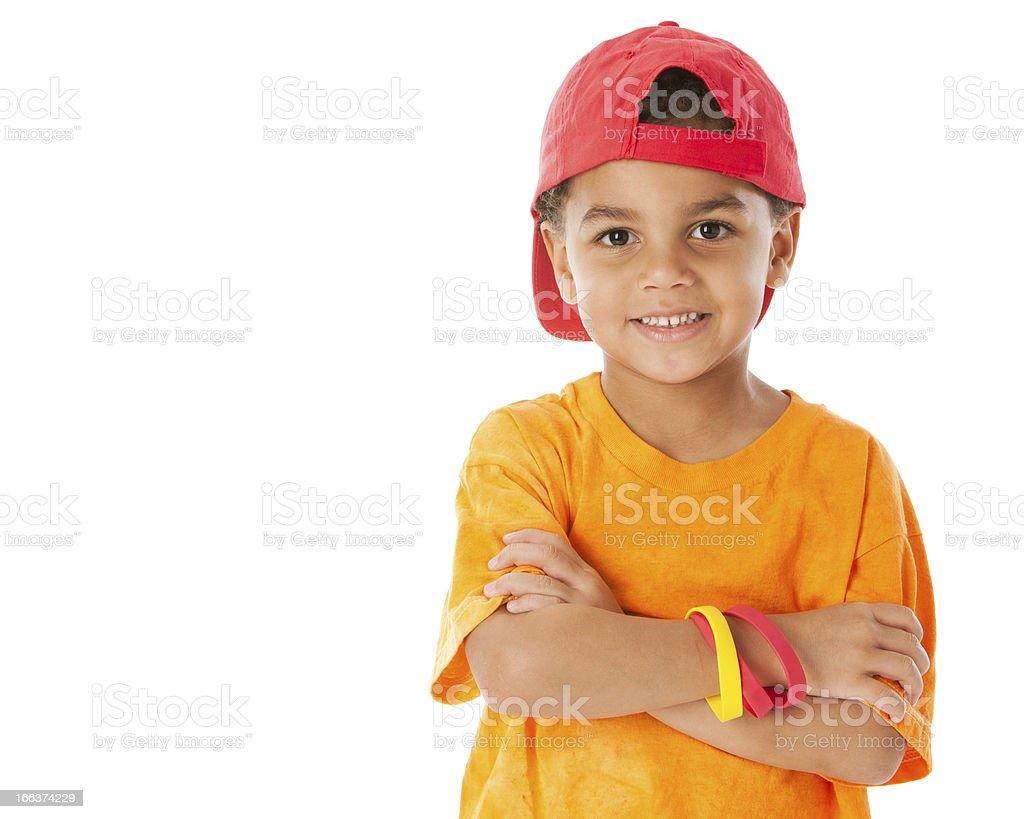 Real People: Mixed Race Little Boy Baseball Cap Head Shoulders stock photo