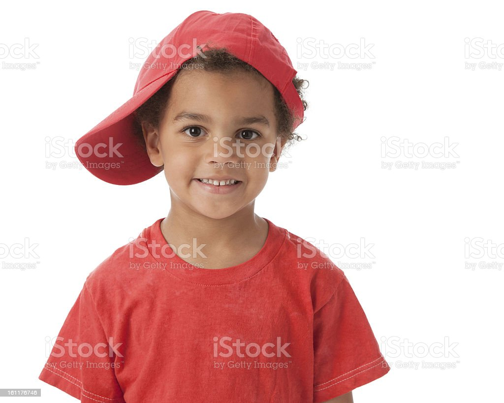 Real People: Mixed Race Smiling Little Boy Colorful Head Shoulders stock photo