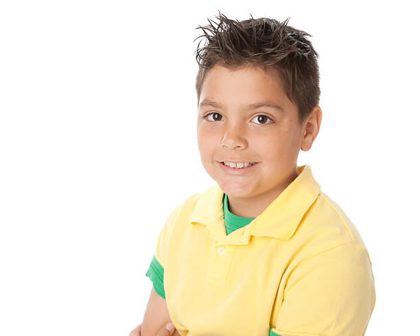 real people: mixed race smiling little boy colorful head shoulders - 8 9 years stock photos and pictures
