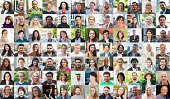 Big collage of head shots of real people around the world, men and women.