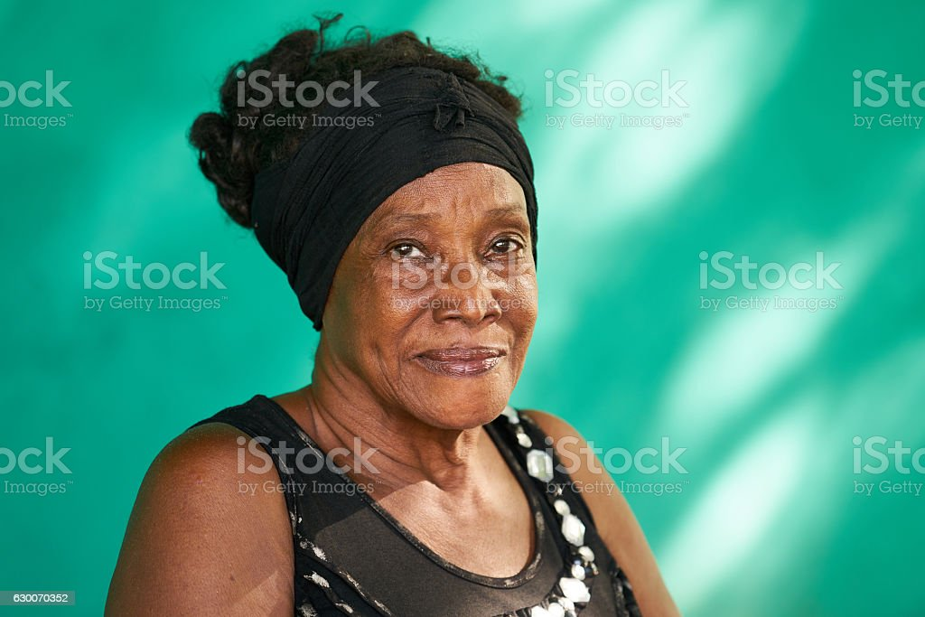 Real People Portrait Happy Elderly African American Woman – Foto