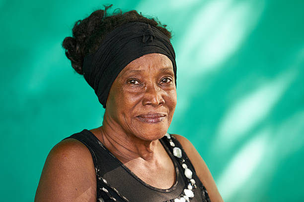 Real People Portrait Happy Elderly African American Woman stock photo