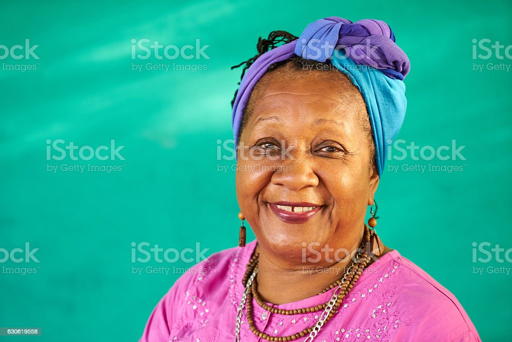Real People Portrait Old Black Woman Smiling At Camera stock photo