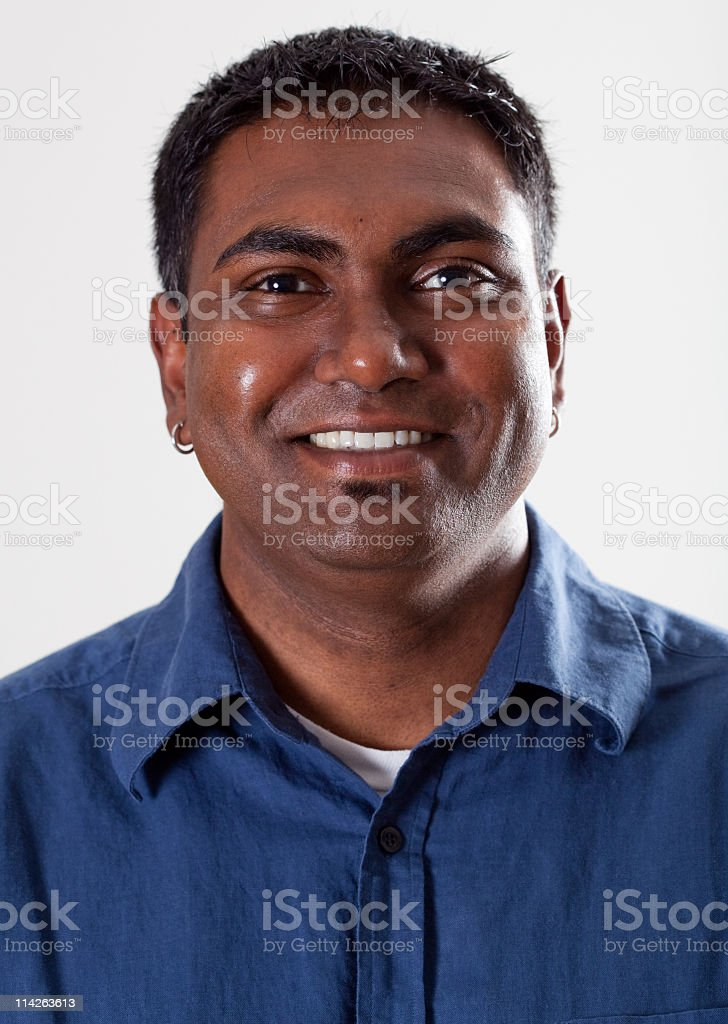 Real People Portrait: Smiling, Young Indian American Man royalty-free stock photo