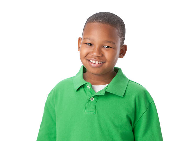 Real People: Smiling African American Little Boy Head and Shoulders stock photo
