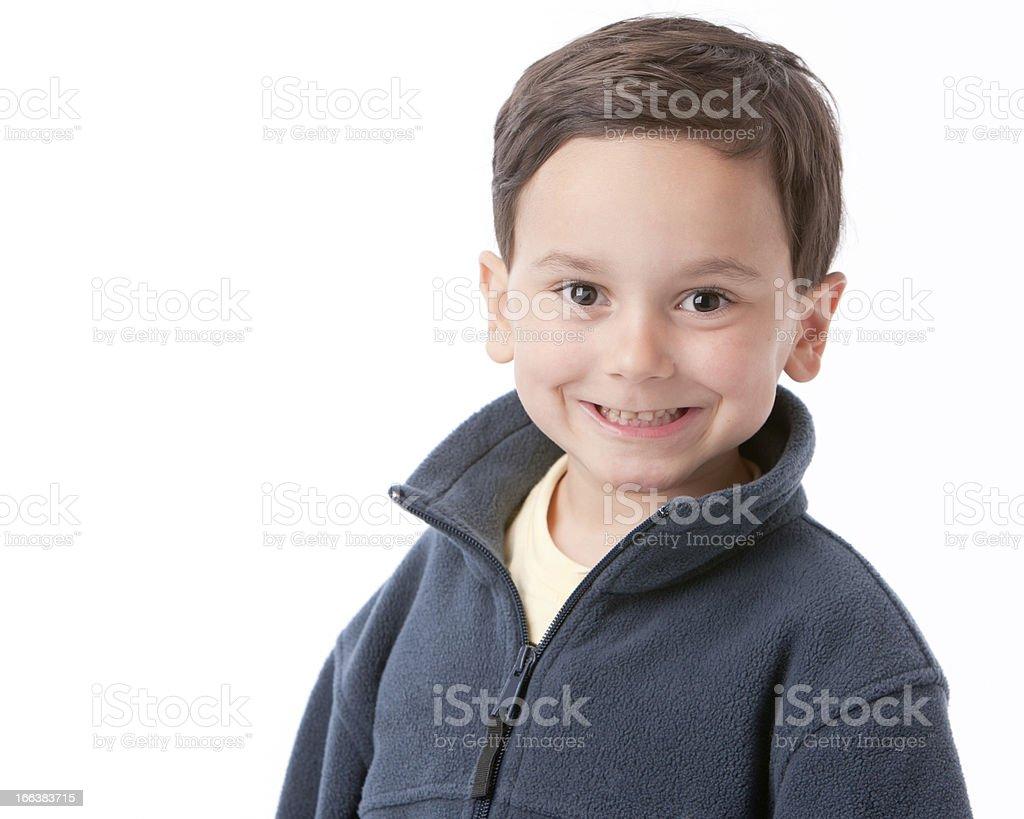 Real People: Smiling Caucasian Hispanic Little Boy Head Shoulder royalty-free stock photo