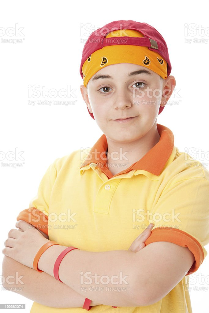 Real People: Smiling Caucasian Teenage Boy Baseball Cap Waist Up royalty-free stock photo