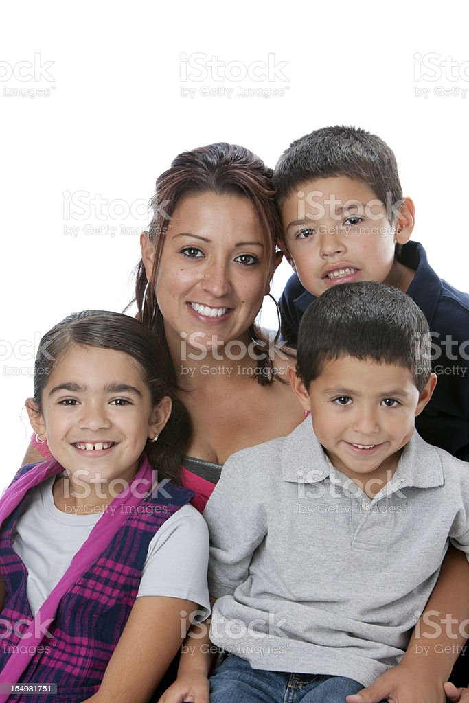 Real People:  Waist Up Hispanic Family Mother Sons Daughter stock photo