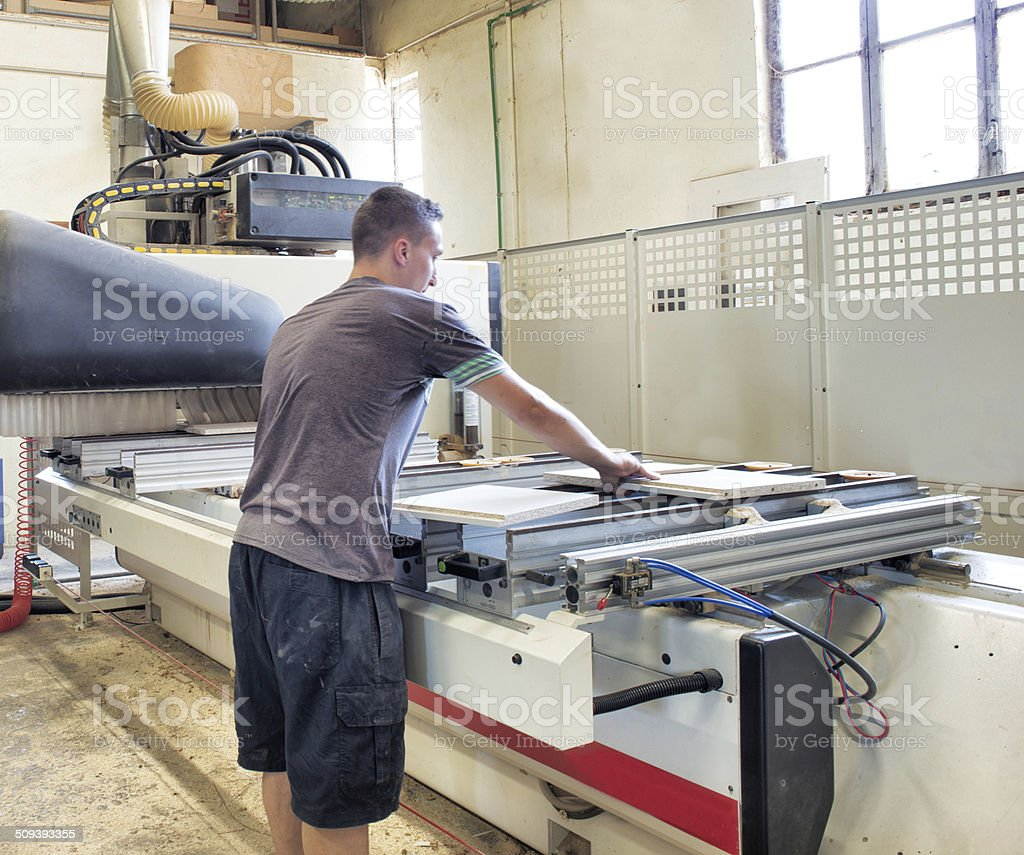 Real People in Real Place - Worker Operating Prouction Machine