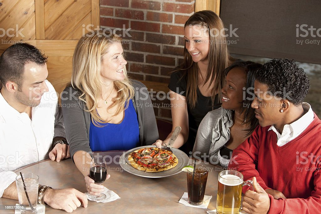 Real People: Young Adult Couples Night Out Bar Restaurant royalty-free stock photo