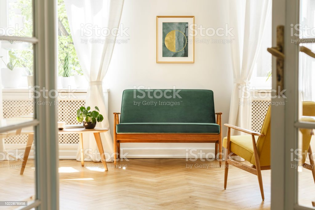 Real Photo A Vintage Living Room Interior With A Green Sofa ...