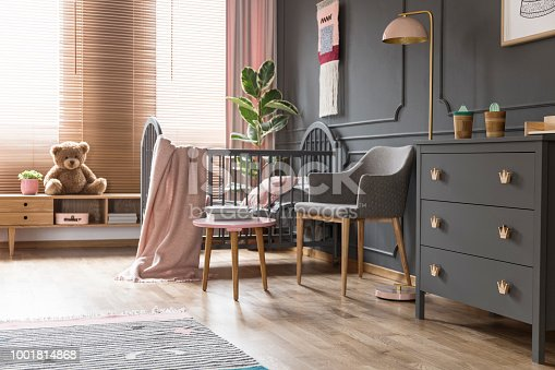 istock Real photo of a cot standing next to an armchair, lamp and cupboard in dark and classic baby room interior 1001814868