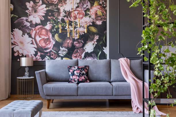 Real photo of a floral living room interior with a wallpaper sofa and picture id1040394278?b=1&k=6&m=1040394278&s=612x612&w=0&h=q1ozpm3kydi t5xgxdfty0xvrh1k4fep83ru2x1q xg=