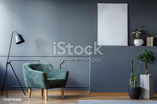 Real photo of a green armchair and black lamp standing in a grey living room interior with a white poster and plants in vases