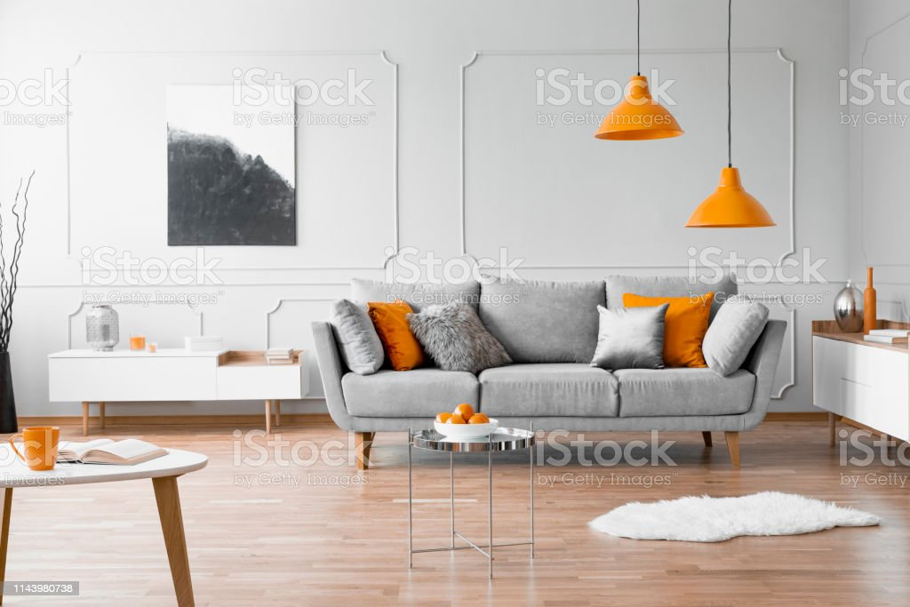 Real Photo Of A Modern Living Room Interior With A Sofa ...