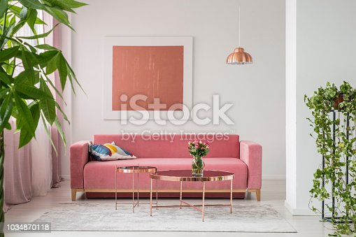 Real photo of a pink couch, round coffee tables and painting in a modern living room interior