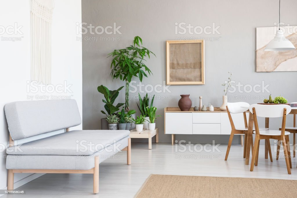 Real Photo Of A Simple, Gray Sofa Standing In A Natural Living Room  Interior With