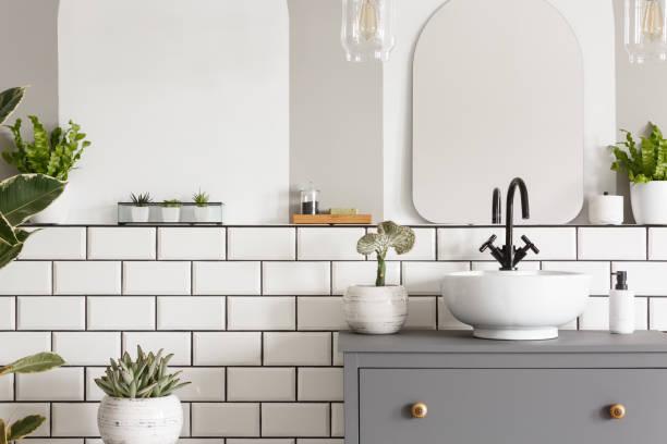 foto real de um coletor em um cupbaord no interior de um banheiro com azulejos, espelho e plantas - banheiro instalação doméstica - fotografias e filmes do acervo