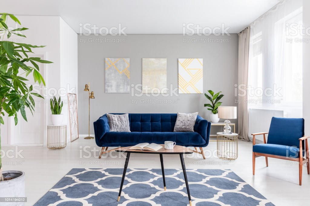 Real photo of an elegant living room interior with a blue sofa, armchair, coffee table, patterned carpet and paintings on the gray wall stock photo