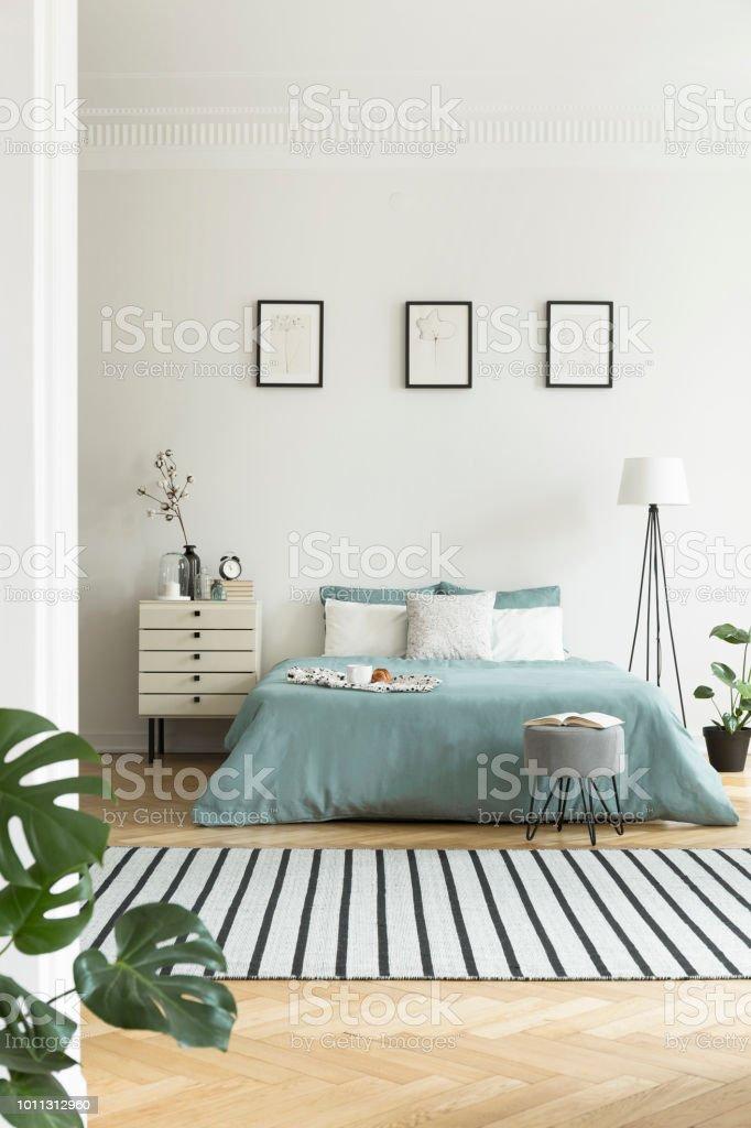 Echtes Foto Von Hellen Schlafzimmer Innenraum Mit Drei Einfachen Plakaten Gestreiften Teppich Und Pastel Grun Blatter Auf Doppelbett Stockfoto Und Mehr Bilder Von Bett Istock