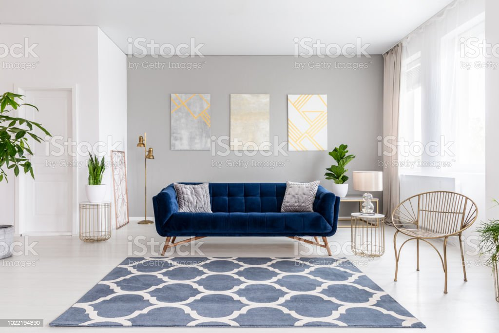 Real Photo Of Bright Living Room Interior With Royal Blue Couch Three Simple Paintings Window With Curtains And Fresh Plants Stock Photo Download Image Now Istock